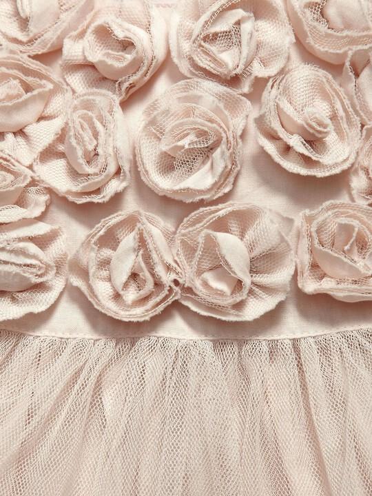 فستان مناسبات وردي ذو طبقة شبكية image number 3