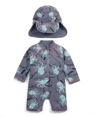 بدلة سباحة مطاطية وقبعة بطبعة أخطبوط