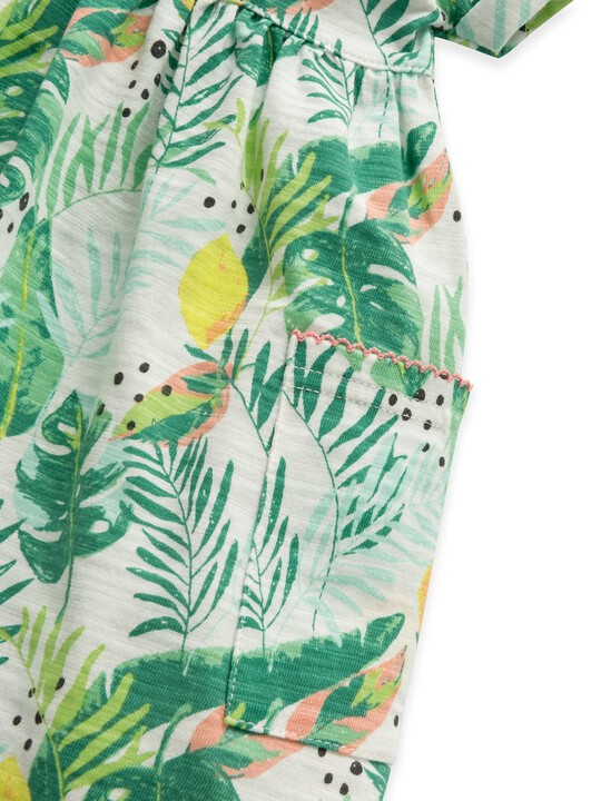 فستان جيرسيه بنقشة استوائية image number 3
