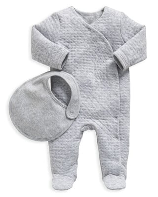 Grey Textured All-In-One with Bib