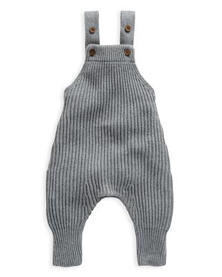 Grey Knitted Ribbed Dungaree