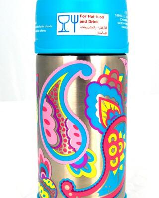 زجاجة مياه فانتينر ستانلس ستيل 355 ملل بنقشة زهور- ثيرموس