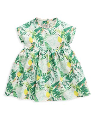 فستان جيرسيه بنقشة استوائية