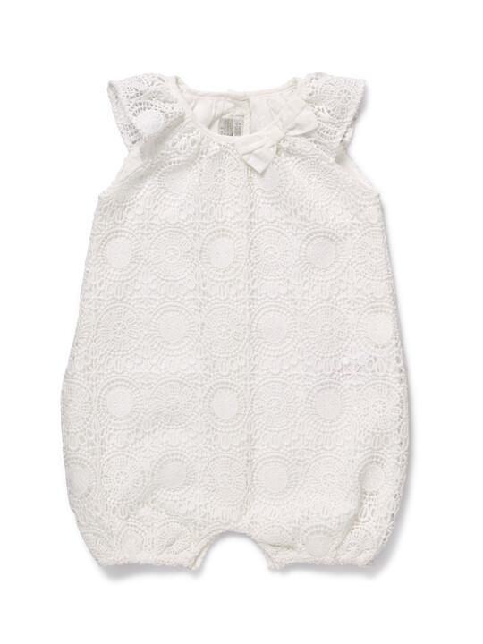 White Lace Romper image number 1