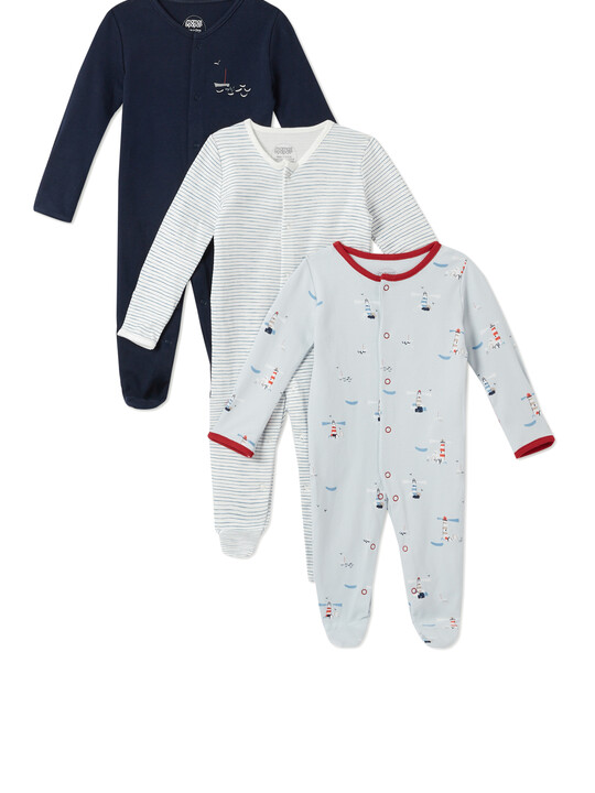 3Pack of  LIGHTHOUSE Sleepsuits image number 1