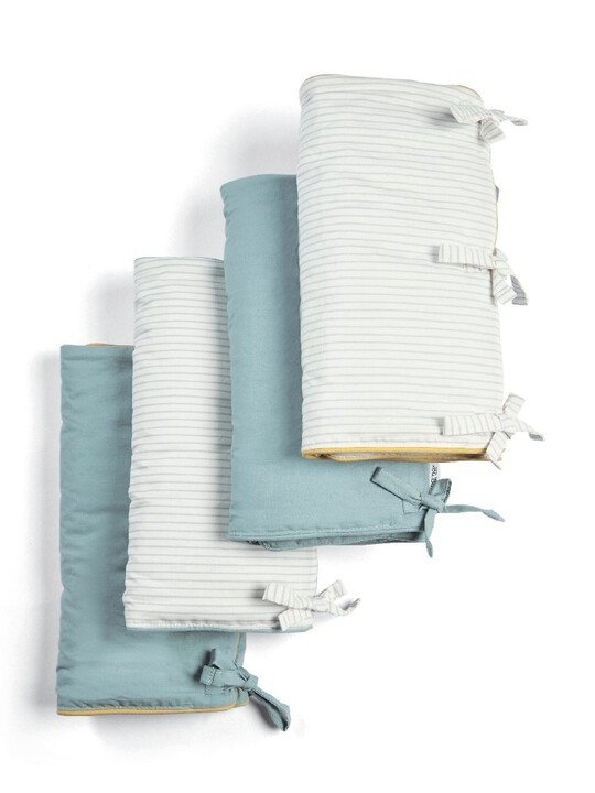 Welcome to the World Farm Cot Bar Covers (Pack of 4) - Blue Striped image number 1