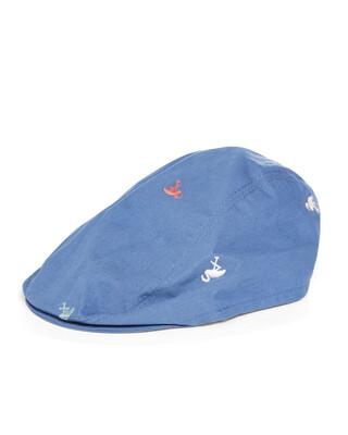 قبعة مسطحة بنقشة طائر الفلامينجو
