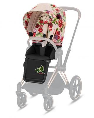 مقعد عربة أطفال بريام بنقشة زهور - بيج فاتح