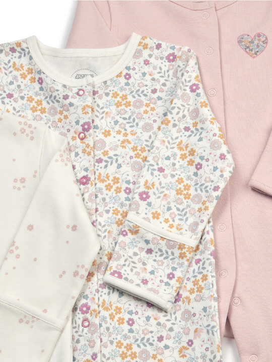 Floral Jersey Cotton Sleepsuits 3 Pack image number 2