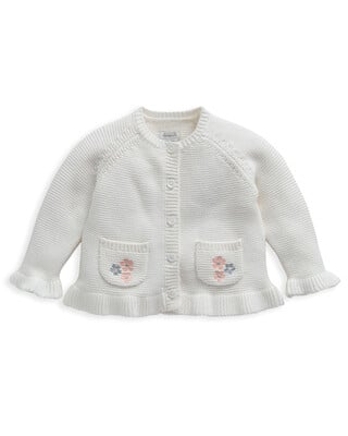 White Embroidered Knitted Cardigan