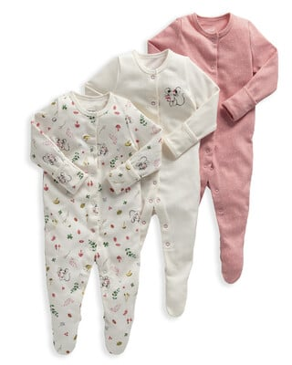 Mouse Jersey Cotton Sleepsuits 3 Pack