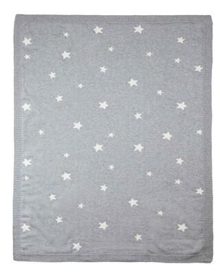 بطانية منسوجة 100% قطن - رمادي بنقش نجوم