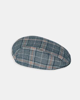 قبعة مسطحة بنقشة مربعات - أزرق