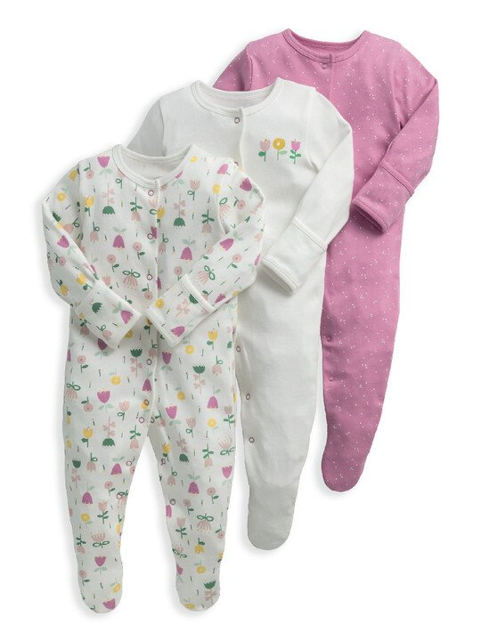 Modern Floral Sleepsuits 3 Pack image number 1